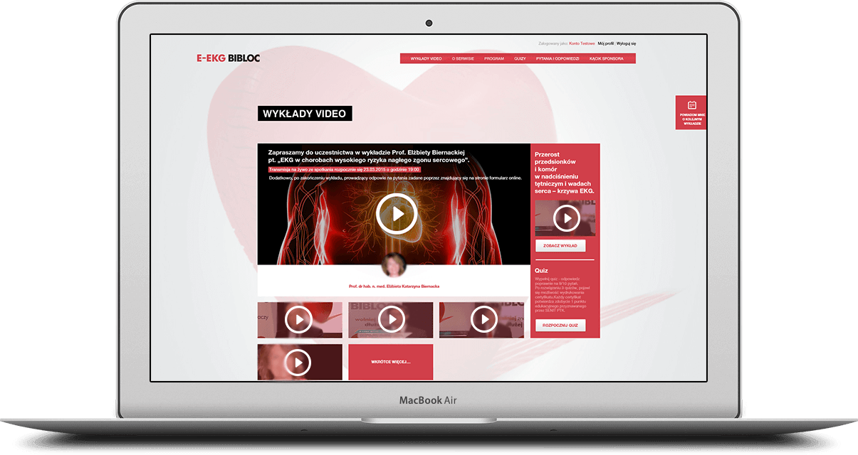 Video streamingi w serwisie E-EKG BIBLOC